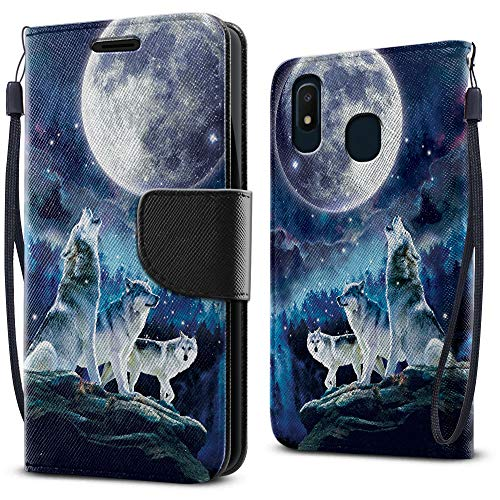 FINCIBO Case Compatible with Samsung Galaxy A10e A102U 5.83 inch 2019, Fashionable Flap Wallet Pouch Cover Case + Card Holder Kickstand for Galaxy A10e A102U (NOT FIT A10) - Wolf Pack Moon