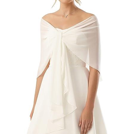 Chiffon Stola Chiffonschal perfekt zu jedem Brautkleid - Abendkleid Hochzeit Abend Gala - RUTSCHT NICHT - WEIß- CREME (Ivory)- SCHWARZ- MARINEBLAU (tiefes dunkles Blau) - Länge 245cm