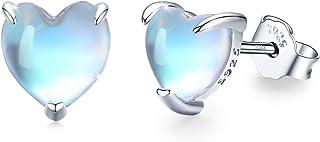 Moonstone Earrings Sterling Silver, Heart Moonstone 6mm Stud Earrings Hypoallergenic Cute Heart Moonstone Tiny Small Earri...