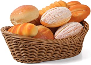 Oval Wicker Woven Basket Bread Roll Basket Serving Basket for Food Fruit Cosmetic Storage Tabletop and Bathroom - 11.42inch