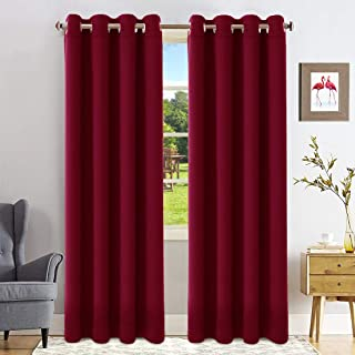 FAIRYLAND Blackout Curtains for Bedroom-Window Blackout Drapes for Living Room Triple Weave Treatment Thermal Insulated Solid Grommet(52 by 84 inch, Burgundy red)