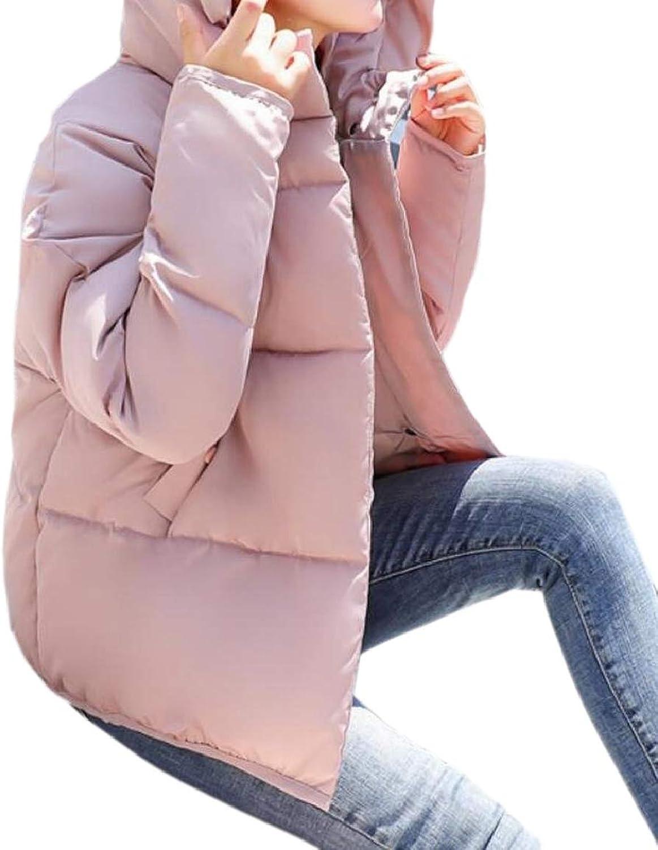 LKCENCA Womens Bread Hooded Winter Zipper Loose Fit Thick Linen Cotton Down Parka
