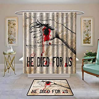 Custom Shower Curtain Quote,Bloody Hand Crucified in Drawing Style Calvary Death Cross Redemption Theme,Tan Scarlet Black,Print Polyester Fabric Bathroom Decor Sets with Hooks 72