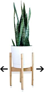 Mid Century Indoor Plant Stand Bamboo Adjustable Wood Plant Stand | Planter Stand | Tall Plant Stand Midcentury Flower Stand | Fits 8