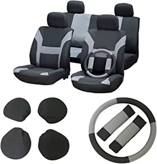 Seat Cover, cciyu Universal Car Seat Cushion w/Headrest/Steering Wheel/Shoulder Pads - 100% Breathable Washable Automotive Seat Covers Replacement fit for Most Cars(Gray on Black)