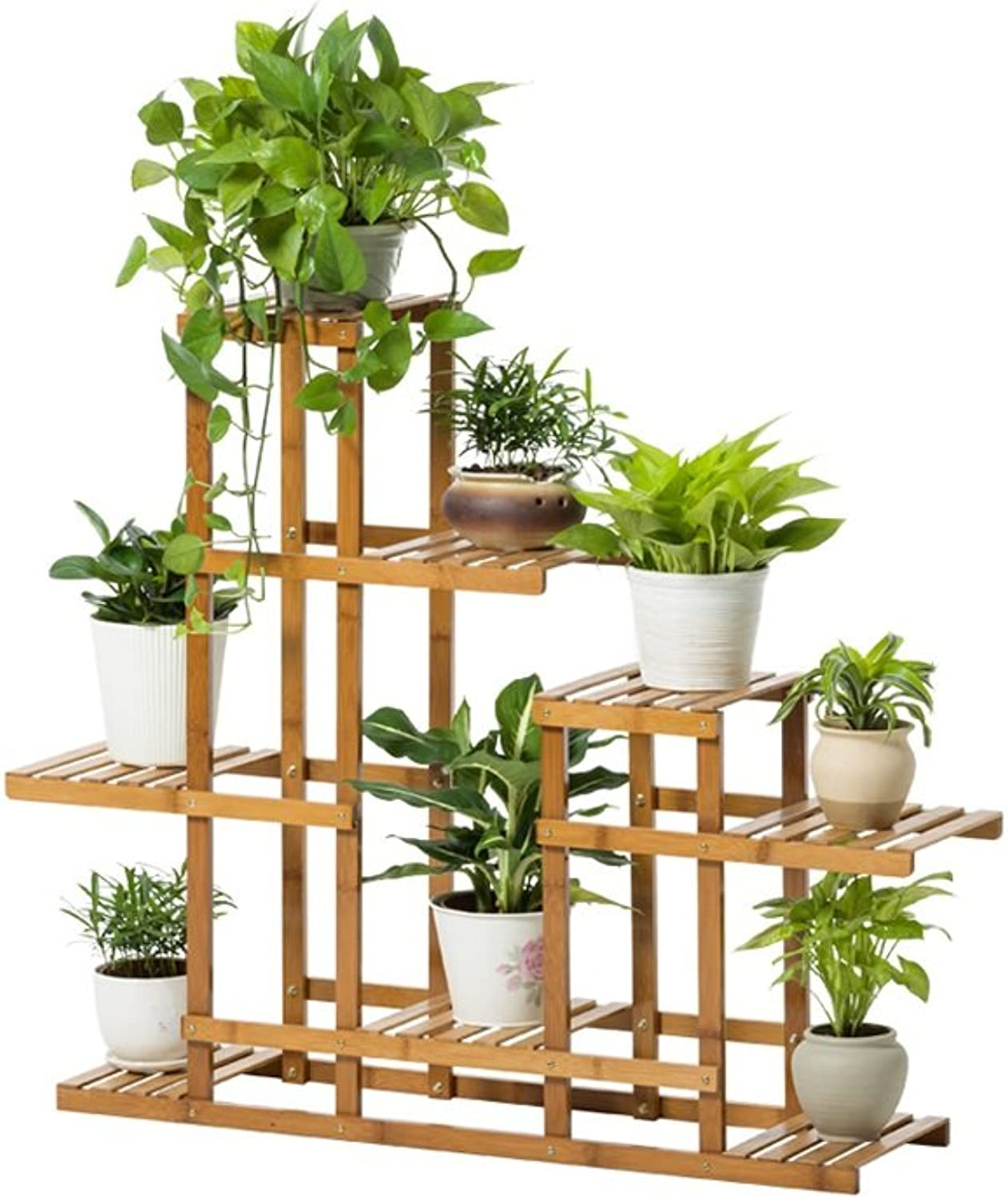 WAN SAN QIAN- Bamboo Floor Stand Multi - Storey Balcony Living Room Flower Shelf Combination Flower Frame Carbonization Flower Rack 90x25x85cm Flower racks
