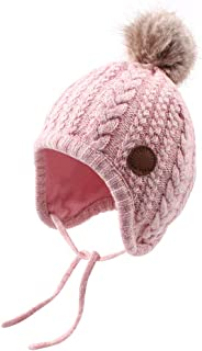 Crochet Baby Beanie Earflaps Toddler Girl Boy Knit Infant Hats Warm Cap Lined Polyester