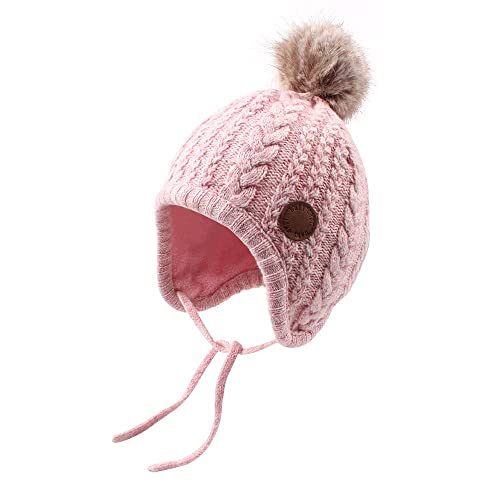 ff249b2af01 Cutegogo Crochet Baby Beanie Earflaps Toddler Girl Boy Knit Infant Hats  Warm Cap Lined Polyester