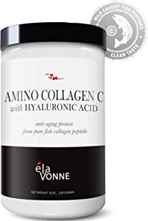 Amino Collagen C with Hyaluronic Acid (30 Servings 8oz_228g) — Pure Fish Collagen Powder - Unflavored, Mixes Clear, No Taste - Skin, Hair, Nails, Joints & Gut Support.