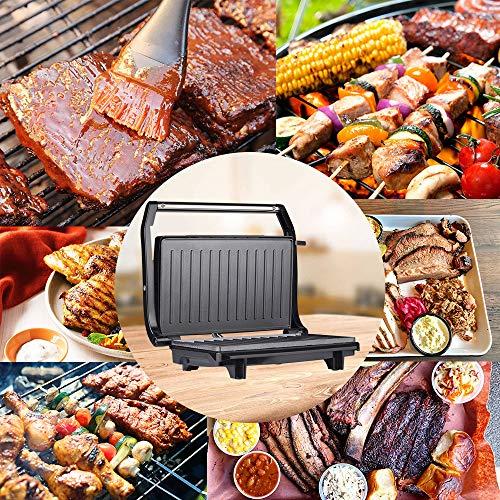 Startseite Kontaktgrill,Elektrischer Tischgrill BBQ Grill Maschine Sandwichmaker/Panini Maker/Elektrogrill Doppel-Seitige Rauchlosen Grill Maschine Kochplatte Steak Grill Maker 220V