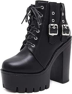 Spring Women Ankle Boots Heels Lacing Platform Boots Black Footwear Woman Boots Fashion Rivet