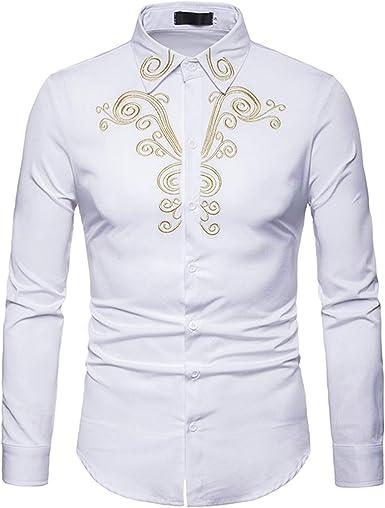 Camisa Bordado Dorado para Hombre, Manga Larga, Camisa de ...