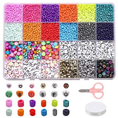 Komake Perline da 4 mm, Colori Misti (2400 pezzi), Numeri da 6 mm, Perline da 720 Pezzi,...