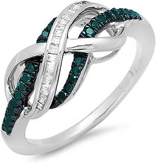 0.20 Carat (ctw) Blue & White Diamond Ladies Swirl Infinity Two Tone Wedding Ring 1/5 CT, Sterling Silver