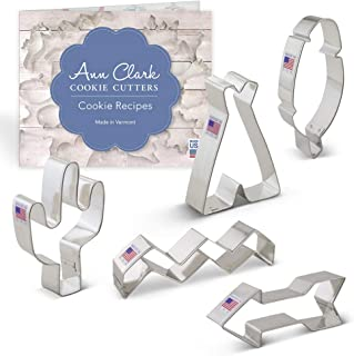 Ann Clark Cookie Cutters 5-Piece Tribal Cookie Cutter Set with Recipe Booklet, Feather, Teepee, Cactus, Chevron Pattern and Arrow