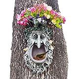 Tree Face Sculpture Wild Bird Feeder Flower Planter Pot Hand-Painted Greenman Tree Hugger Sculpture Outdoor & Garden Decor