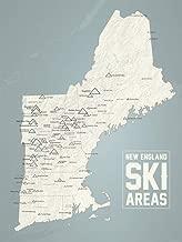 New England Ski Resorts Map 18x24 Poster (Beige & Slate)