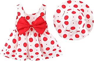 ODASDO Toddler Kids Infant Baby Girls Sleeveless Bow Dress with Straw Hat Coming Home Outfits Summer Sundress 2pcs Set