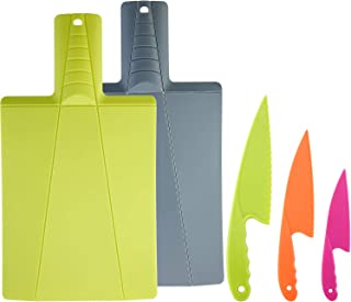 Foldable Plastic Cutting Board in 2 Colors and Cooking Knife in 3 Sizes and Colors with Firm Grip, Safe and Durable for Bread, Lettuce and Salad (Yellow Green and Dark Gray)
