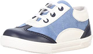 Bellino Contrast Stitched Detail Lace-Up Two-Tone Faux Leather Fashion Sneakers for Boys