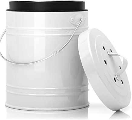 featured product Oversized 1.3 Gallon Kitchen Compost Bin with EZ-No Lock Lid,  Plastic Liner & Charcoal Filters in White & Black - Sturdy Construction & Odor-Free Seal to Prevent Bugs & Smell w/Dishwasher Safe Bucket