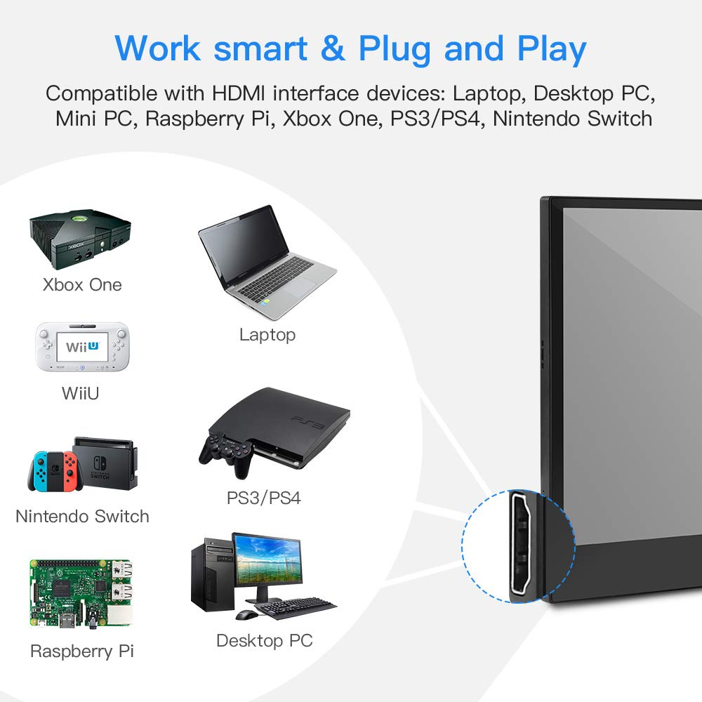 Eyoyo 13 3 Inch Portable Touchscreen Monitor 1920x1080 Ips Hdmi Gaming Monitor Second Screen For Laptop Compatible With Xbox One Ps4 Switch Raspberry Pi Mini Pc Amazon Ae