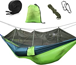 izBuy Camping Hammock with Mosquito/Bug Net, Lightweight Double Hammock of Bearing 1322 lb for Outdoor, Hiking, Backpacking, Travel, Camping