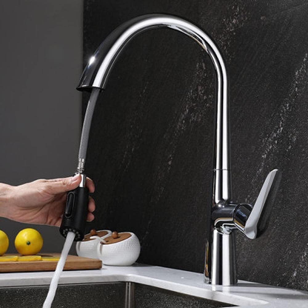 ZXYY Kitchen Fees free Sink online shopping Faucet Single Handle Si Pull-Out Brass
