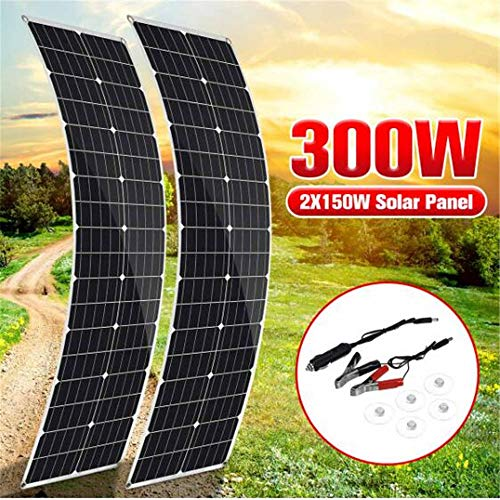 Framy Semi-Flexible Solar Panel 300W/150W×2 18V Monocrystalline Solar Cell DIY Cable for Car RV Boat Battery Charger Waterproof
