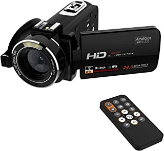 """Andoer Hdv-Z20 Portable 1080p Full Hd Digital Video Camera Max 24 Mega Pixels 16 Digital Zoom Camcorder 3.0"""" Rotatable LCD Touchscreen with Remote Control Support WiFi Connection"""