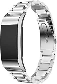 Band for Fitbit Charge 2 - PEMOTech [Stainless Steel Strap] [Polished Classic Metal Buckle] Watch Strap + Connector for Fitbit Charge 2 Heart Rate Plus Fitness Wristband 2016 Release, Come with A Tool to Adjust The Bracelet Easily - SILVER