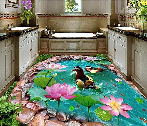Suelo 3d personalizado papel tapiz autoadhesivo baldosas 3d sala de estar piso de rollo de pvc pato foto de loto wallpaper-300 * 210cm