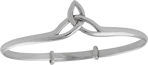 FashionJunkie4Life Sterling Silver Celtic Trinity Knot Bangle Bracelet, Triquetra, Adjustable Slide-On