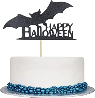 Double Sided Black Glitter Happy Halloween Cake Topper - Halloween Cake Party Decorations