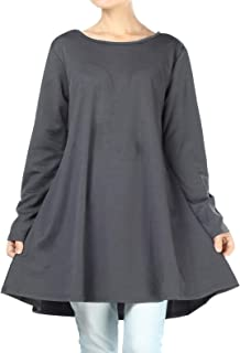 Women's Swing Tunic Tops Loose Fit Shirt Dress with Pockets