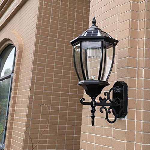 light Solar Wall Lamp Outdoor Solar Exterior Wall Lamp Wall Lamp Villa Waterproof Garden Lamp Balcony Wall Lamp,Large Black