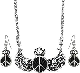 Royal Símbolo de la Paz Juego de collar y pendientes colgantes con alas