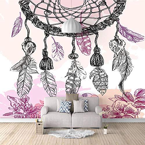 Fotomural Vinilo Pared Atrapasueños Rosa Ideal Para La Decoración De Comedores, Salones | Motivos Paisajísticos | Naturaleza Arte Diseño Elegante (W150 X H100Cm)