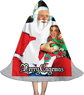 SEDSWQ Merry Cagemas Santa Knee Nicolas Cage Christmas Unisex Kids Hooded Cloak Cape Halloween Xmas Party Decoration Role Cosplay Costumes Black