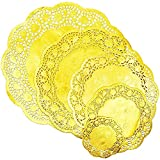 Lace Paper Doilies, Round Gold Placemats (5 Sizes, 60 Pack)