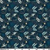 Wachstuchtischdecke abwaschbar Garten Tischdecke Wachstuch Rund Oval Eckig Indoor Outdoor Blätter Gold Blau 100x140cm - 5