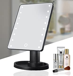 LED Illuminated Cosmetic Mirror - 16 Light Bulbs Table Top Vanity Makeup Mirror with 4 x Batteries - Lighted Make up Mirror Beauty Mirror for Tabletop, Travel, Shaving, Dressing (Black)
