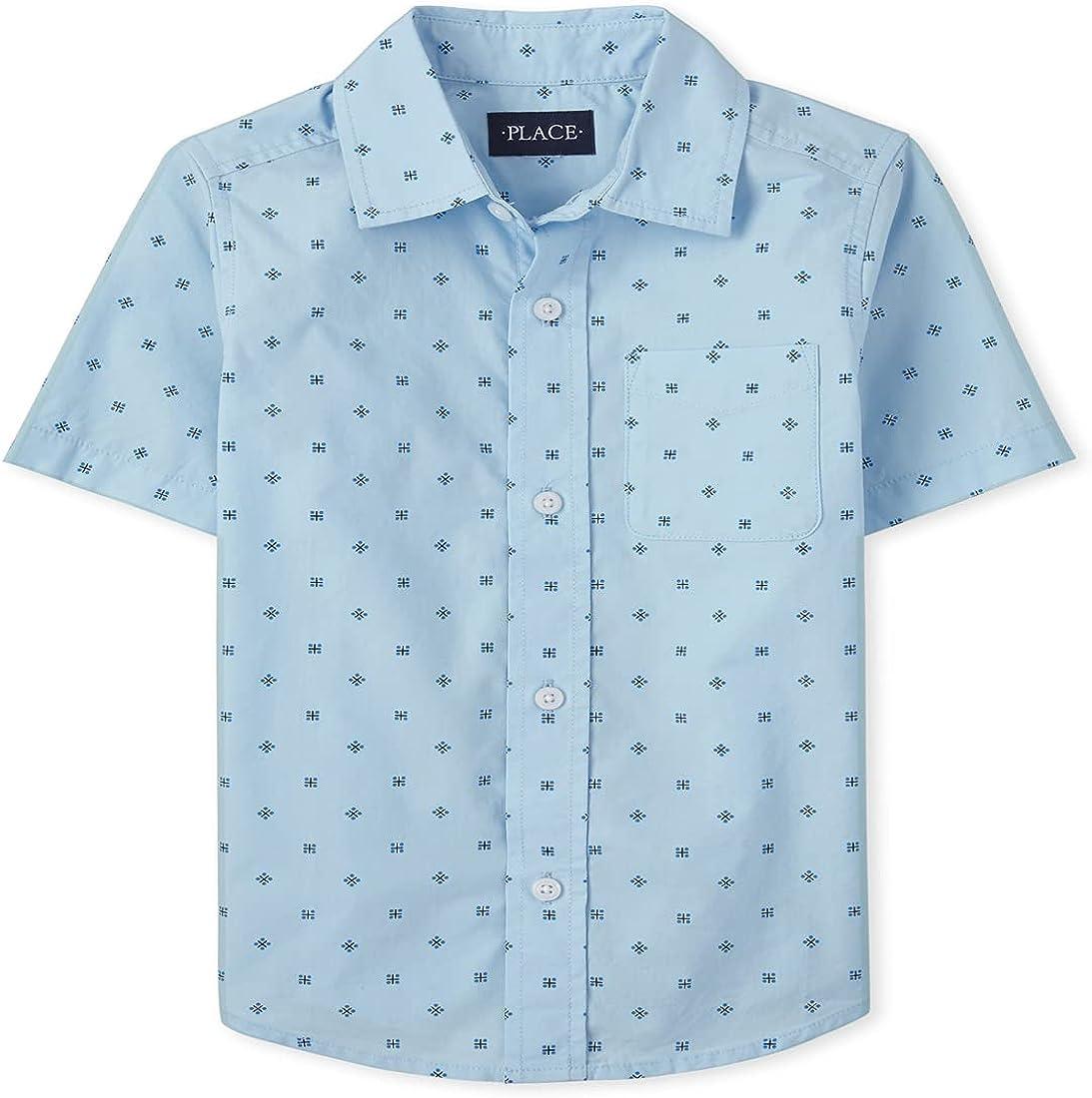The Children's Place Boys' Short Sleeve Print Poplin Button Down Shirt