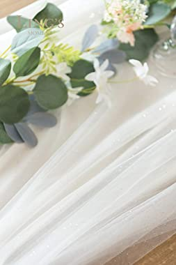 Ling's moment 30x195 inch Extra Long Tulle Table Runner with 32FT Light for Wedding Party Bridal Shower Long Table Aisle
