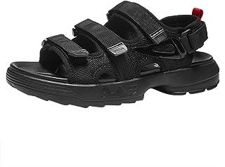 メンズサンダル 人の夏の開いたつま先のヴェルクロ浜の靴、ゴム製滑り止めの着用可能な生地の通気性のサンダル (色 : C, サイズ さいず : 39)