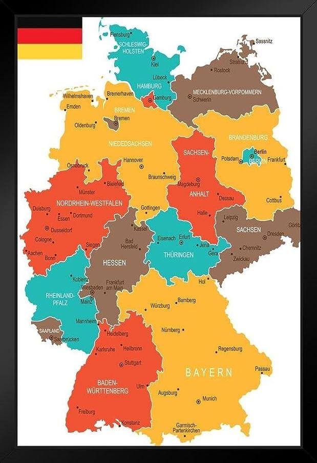 連続した塗抹してはいけないポスターFoundryドイツの地理的な地図アートプリントアートプリント 14x20 inches 230827