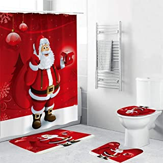 Beyonds Bathroom Mat Sets 4 Piece with 12 Hook, Christmas Santa Claus Snowman Elk Shower Curtain Carpet Doormats Toilet Decor Rugs Bath Mat for tub Kids Floor, Christmas Non-Slip Bathroom Mat