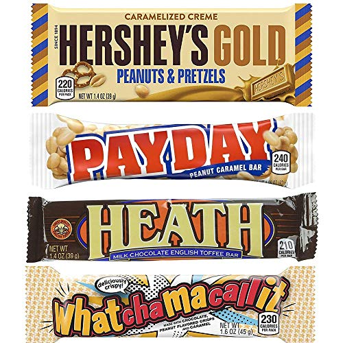 Payday, Heath, Whatchamacallit & Hersheys Gold Gift Box  - 4 Bars Of Each (16 Total Bars) By Candylab