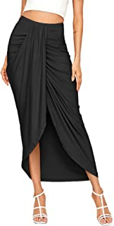Women's Casual Slit Wrap Asymmetrical Elastic High Waist Maxi Draped Skirt