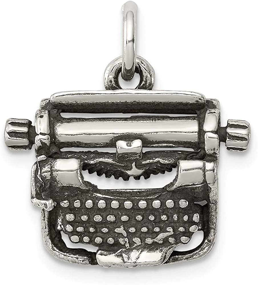 Sterling High quality new El Paso Mall Silver Antiqued Typewriter Charm